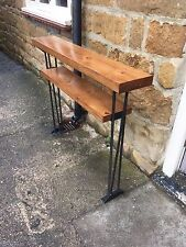 Bespoke H80 x W100 x D20cm steampunk industrial steel console table with shelf