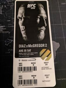 UFC 202 Mcgregor VS Diaz 2 original ticket