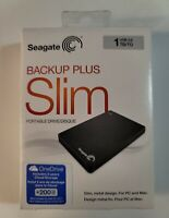 Seagate Backup Plus Slim 1TB Portable USB 3.0 External Hard Drive Black