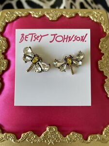 Betsey Johnson Tortifly Crystal Embellished Yellow Dragonfly Insect Bug Earrings