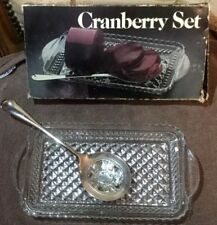 Vintage 1978 Leonard Crystal Cranberry Set 275 With Silver Plate Spoon & Box