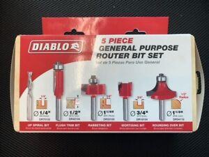 Diablo DR89100 Carbide Tipped General Purpose Router Bit Set 5 pc.