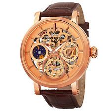 Men's Akribos XXIV AK745RG Mechanical Skeleton AM/PM Brown Leather Strap Watch