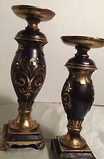 Set Of 2 Resin Candle Pillar Holders Dark Brown & Gold Tone