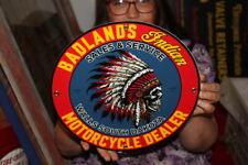 Badlands Indian Motorcycle Dealer Sales & Service Gas Oil Porcelain Metal Sign