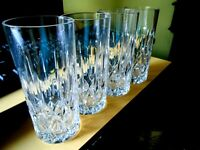 SET 4 WATERFORD Cut Crystal High Ball Glasses  6 in