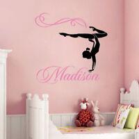 Gymnast Personalised Wall Vinyl Sticker Decal Art Gymnastics Gym Girls Bedroom*