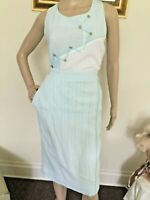 80's Vintage Blue White Striped Sleeveless Top Skirt Set