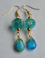 Handmade Ocean Blue Lamp Work Bead Teardrop Drop Dangle Earring