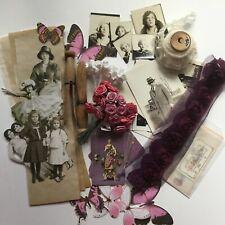 Vintage Ephemera Box Kit Lace Paper Dolls Butterflies Photos