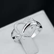 Fashion 925 Silver Dolphin Heart Ring Wedding Engagement Jewelry Gift  For Women
