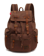 Vintage Unisex Casual Leather Backpack Canvas Rucksack Satchel Hiking Travel Out