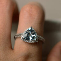14K White Gold Natural Diamond Rings 2.10 Ct Aquamarine Gemstone Ring Size N O