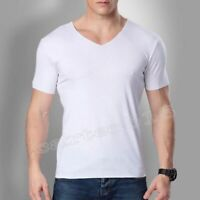Mens Summer Casual Bamboo Fiber V-neck Short Sleeve Stretch Shirts Top Plus Size
