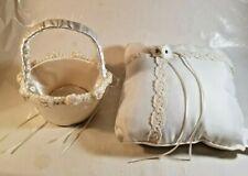 Wedding Flower Girl Basket and Ring Bearer Pillow Set Ivory