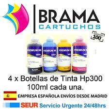 4 X BOTELLAS DE TINTA DE 100ML PARA HP DESKJET F4288 F4500 F4580 F4583 hp300XL