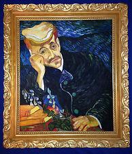 Portrait Gemälde DR. GACHET nach Vincent van Gogh, Öl aus Leinwand, Prunkrahmen!