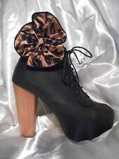 2 Light Brown / Black Leopard Print Shoe Clips / Boot Clips