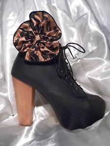 2 Light Brown / Black Leopard Print Shoe Clips / Boot Clips