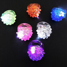 2PCS LED Light-Up Flashing Jelly Bumpy Rings Party Favors Blinking Rings Toy New