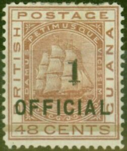 British Guiana 1881 1 on 48c Red-Brown SG154 Fine Mtd Mint EX-Sir Ron Brierley