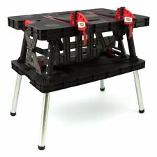 Keter Folding Work Bench Table DIY Portable Tool Adjustable Clamps Saw Surface