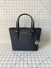 Michael Kors Jet Set Small Black Signature XS Carryall Convertible Tote Handbag