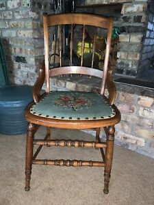 Antique Accent Side Chair W/ Floral Needlepoint Seat & Spindle Back Rest