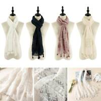 Women Ladies Fashion Shawl Scarf Scarves Stole Summer Spring Lace Embroidered AU