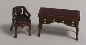 "1:48 1//4/"" Scale Blockfront Secretary Desk Walnut Dollhouse Furniture 0002310"