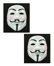 2 pcs V for Vendetta Anonymous Guy Fawkes Masquerade Halloween Mask Pink cheek