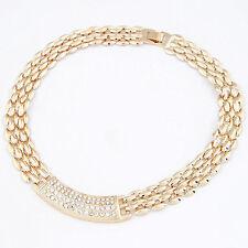 Fashion Women Crystal Pendant Chunky Choker Statement Collar Gold Necklace Chain