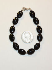 """Sterling Silver and 10x14mm Black Onyx Bead Bracelet 8 """" (12686)"""
