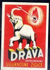 MATCHBOX LABELS-YUGOSLAVIA. Elephant matches, export label, Drava