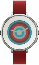 Pebble Time Round 14mm Smartwatch for Apple/Android Devices - Silver/Red
