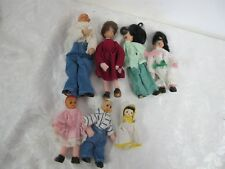 Vintage Dollhouse Family (7) Bendy Felt Rubber Heads Grandpa