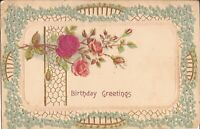 BIRTHDAY - Roses & Forget-Me-Not Birthday Greetings - 1907 -  EMBOSSED GILDED