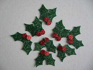 16 Glitter Felt Christmas Holly Leaves and 16 Berries Die Cut Shapes
