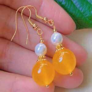 Fashion yellow round Chalcedony white pearl bead gold earrings Party Halloween