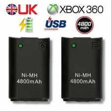 2X Black 4800mAh Rechargeable Battery Pack+Charger Cable For Xbox 360 Controller