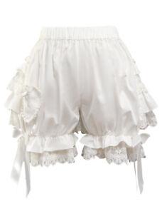 Sweet White Cotton Lolita dress skirt Bloomers Layered Ruffles Lace Bow Ribbon