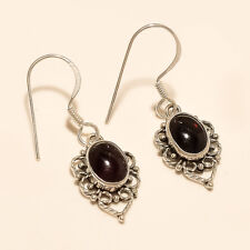 925 Sterling Silver Fine Jewelry New Designer Handmade Charm Red Garnet Earrings