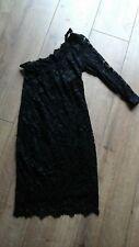 Asos Black Stretch Encaje Vestido de Un Hombro Talla 8