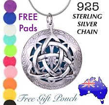 Triquetra Witch Wicca Essential Oil Diffuser Locket 925 Sterling Silver Necklace