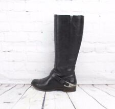 UGG Channing II Riding Boots Black Leather Metal Stirrup Side Zip Women's 6.5