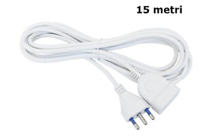 Prolunga lineare 15 metri cavo elettrico spina 10/16A bipasso bianco 15mt 81015