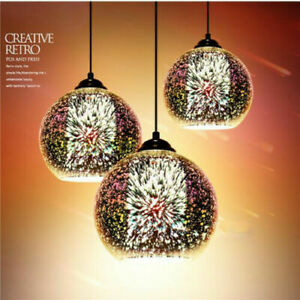 Modern 3D Retro Glass Pendant Light Firework Lamp Loft Lighting Fixture Xmas US