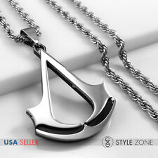 NEW Stainless Steel Assassin's Creed Logo Cool Pendant w Rope Chain Necklace 14Z