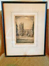 Vintage Westminster Abbey Etching Framed