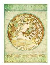 "Alphonse Mucha 1976 Authentic Vintage Art Nouveau Stampa 1901 ""TARGHETTA Lierre"" LIBRO"